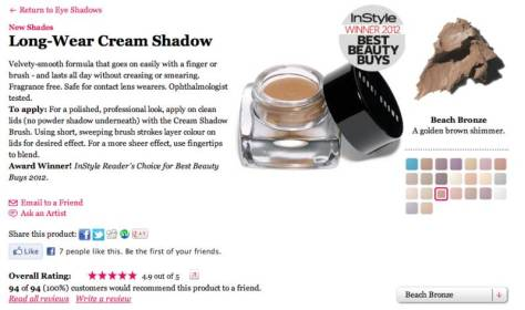 Entire range of bobbi brown long wear cream shadows