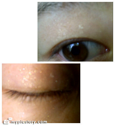 Pics of the eye shadow on my eye the top is in natural light and the bottom is with a flash
