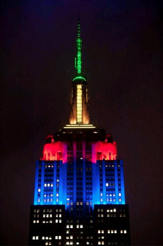 Empire state building lit up in SA flag colours