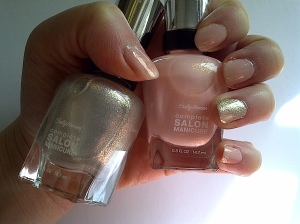 sally hansen perfect pair and bridal bling on the ring finger