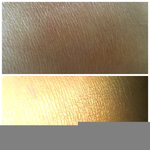 avon swatch of avon glow bronzing pearls deepest bronze with and without flash